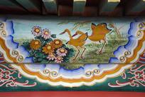 古建彩绘菊花鹭鸟