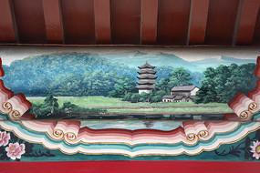 古建彩绘山林古塔