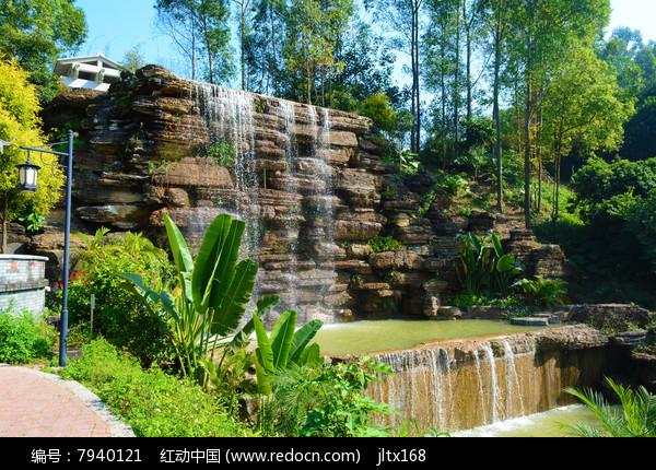 园林瀑布图片