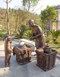 古代凉茶摊雕像