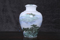 山水风景茶罐