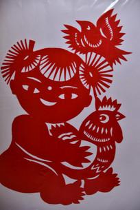 中国传统剪纸人物和动物鸡