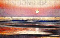 海上日出风景画