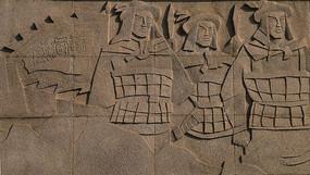 墙面石雕守护威海卫