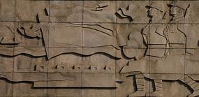 墙面石雕中国军人保卫国家