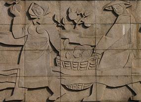 石雕墙面丰收的季节