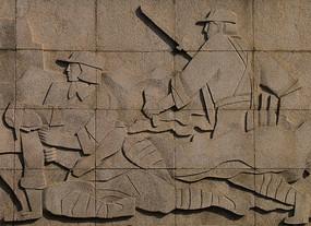 石雕战士墙面图