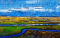 草原河流风景画