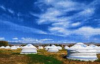 蒙古包 风景画