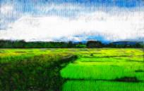 乡村田野风景画