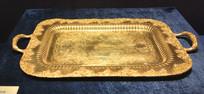 奥地利银器双耳刻花纹方形托盘