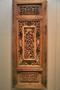 文物木雕葫芦花纹木窗