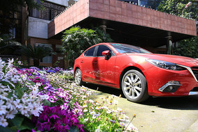 停在花坛边的红色轿车