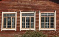 三联木窗户背景素材