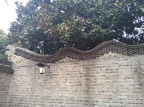 乌镇古建筑围墙上的龙