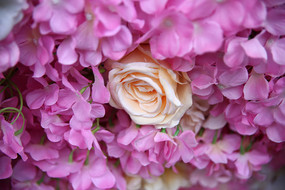 一支夹在绢花里的粉玫瑰