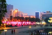 城市节日夜景建筑彩灯图