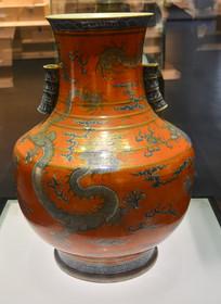 文物红柚青花双管龙纹瓷瓶