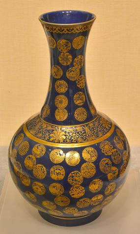 文物祭蓝釉金彩皮球锦纹赏瓶