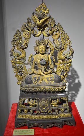 文物鎏金无量寿佛铜像