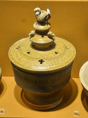 文物釉陶鸟钮盖薰炉