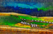 草原风景装饰国