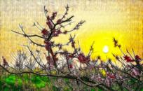 朝阳风景画