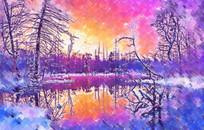 冬天风景创意画