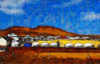 蒙古风景装饰画