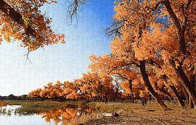 秋色丛林风景画