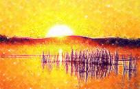 日出山水风景画