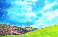 山坡风景水彩装饰画