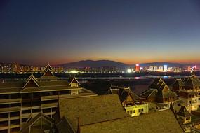 俯拍景洪城市及湄公河夜景