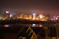 景洪城市夜景及俯瞰湄公河