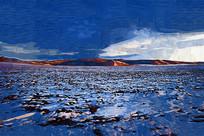 电脑油画《空旷的雪原》