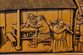 木雕人物古人喝茶