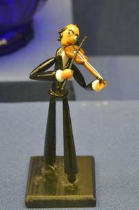 欧洲玻璃雕塑小提琴家