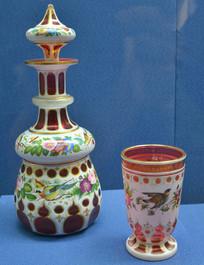 欧洲彩绘花鸟纹玻璃滗水器和水杯