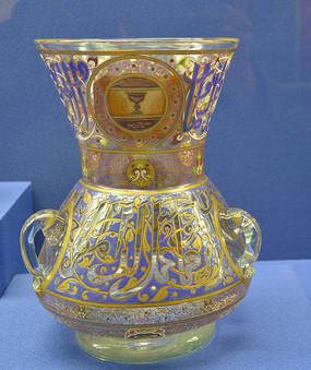 欧洲彩绘双耳玻璃大花瓶