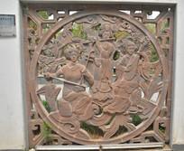 雕塑古代美女弹奏