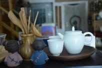 纯白壶茶具
