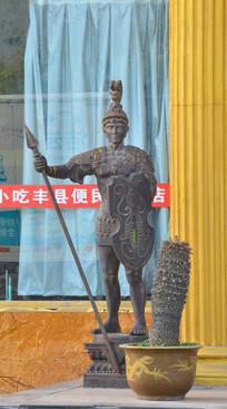雕像欧洲持盾杖抢战士