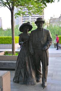 雕像欧洲夫妇