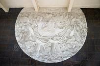 浮雕仙人与白鹤