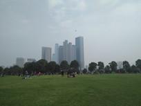 公园与高楼大厦