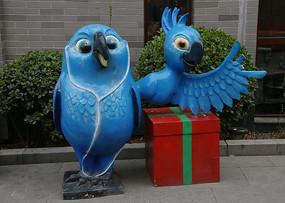 蓝色鹦鹉雕像