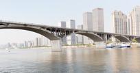 夕阳下的湘江大桥