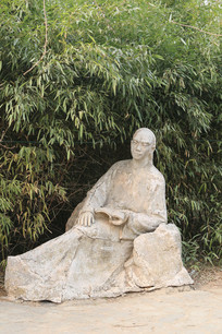 竹林背景的曹雪芹雕像