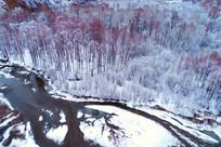 美丽的雪河红 航拍