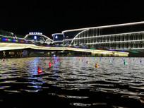 办公区喷泉广场夜景